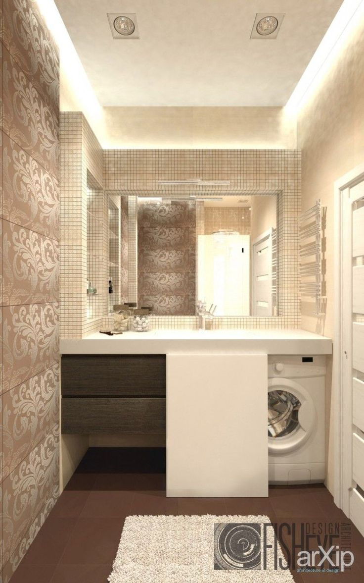 {beautiful bathroom with hidden laundry}