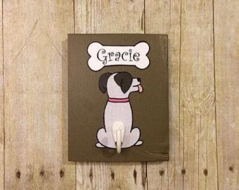 Custom Pet Name Dog Leash Holder by NaturesHeavenlyArt on Etsy