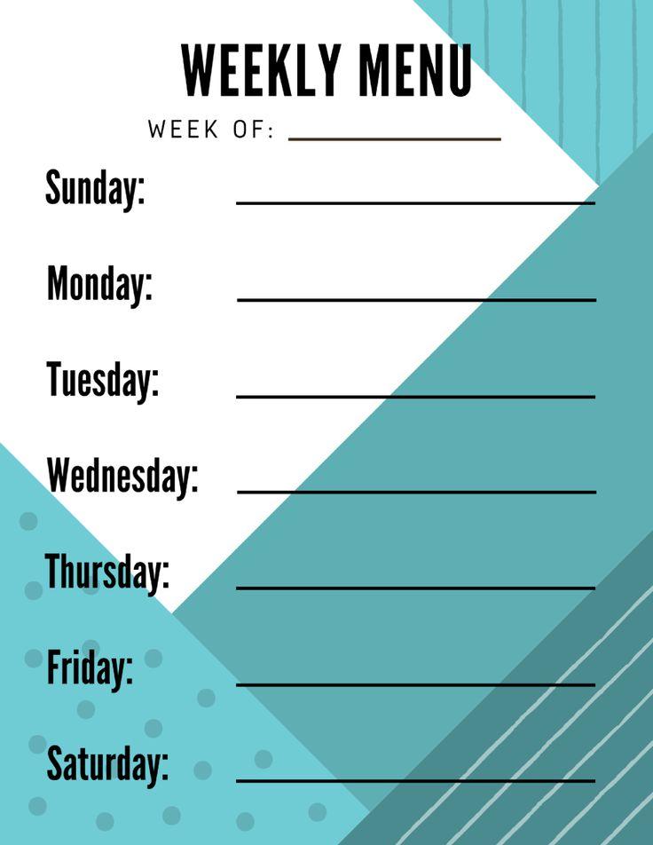 The 25+ best Menu planning printable ideas on Pinterest Weekly - weekly menu