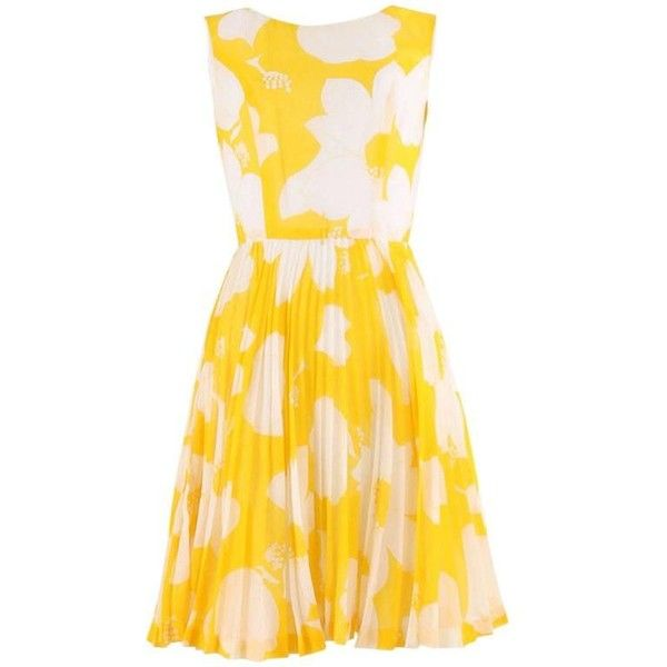 Preowned 1960's Sunshine Yellow And Ivory Flower Print Dress ($182) ❤ liked on Polyvore featuring dresses, yellow, floral dress, sleeveless dress, yellow summer dress, yellow pleated dress and winter white dress