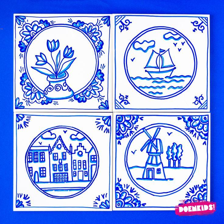 """Dit keer een typisch Nederlands creatieveknutselactiviteit die past bij het programma """"Hip Holland Hip"""" dat is samengesteld voor alle abonnees van de BSO Activitheek van DoenKids. Delfts blauwe tegeltjes zijn superleuk om te maken. Er gebeurt iets magisch als je monochroom werkt: elk tegeltje wordt anders en toch passen ze allemaal bij elkaar."""
