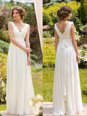 A-Line/Princess Sleeveless V-neck Chiffon Lace Floor-Length Wedding Dresses at HerDress Online