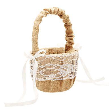 Flower Basket In Beige Linen With Lace Flower Girl Basket – USD $ 10.99