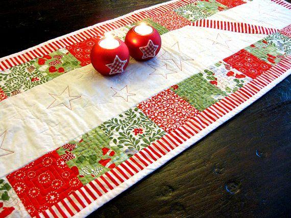 Zuurstok rood wit groen Kerst tafelloper van kleinedromen op Etsy