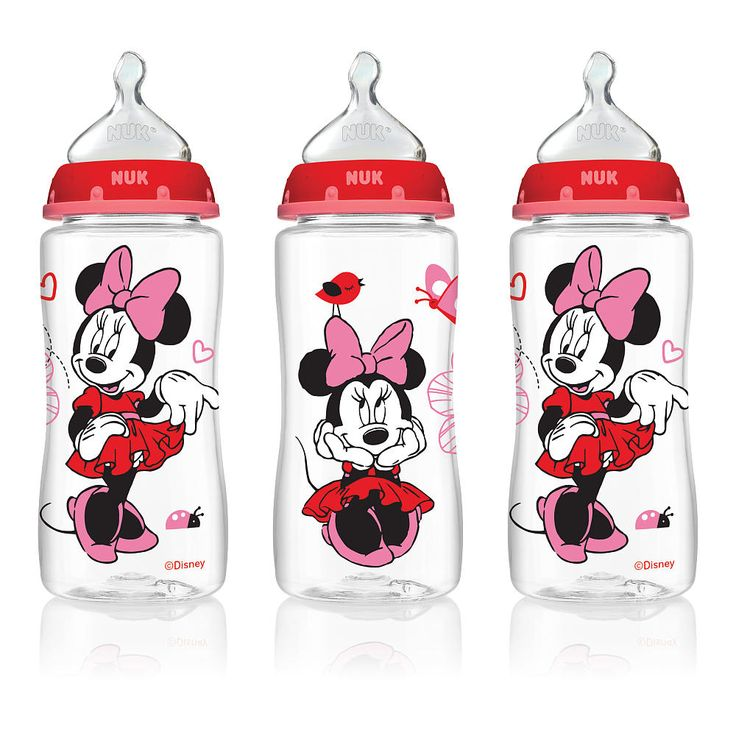 NUK Disney Orthodontic 10 Ounce Bottles with Medium Flow Silicone Nipples 3 Pack - Minnie Mouse