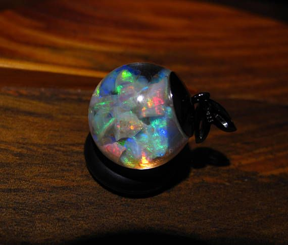 Floating Opals Necklace with over 6 carats Lightning Ridge