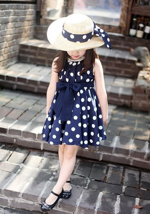 NOT KEEN ON THIS WEBSITE. Polka Dots Blue Dress-Silk Blue Dress Polka Dots Casual Dress for Girls-ON SALE
