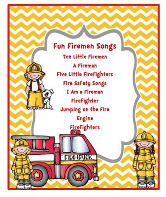 Fun Fireman Song (7 pages) Fun Firemen Songs: Ten Little Firemen A Fireman Five Little Firefighters Fire Safety Songs I Am a Fireman Firefighter Jumping on the Fire Engine Firefighters From Preschool Printables on TeachersNotebook.com