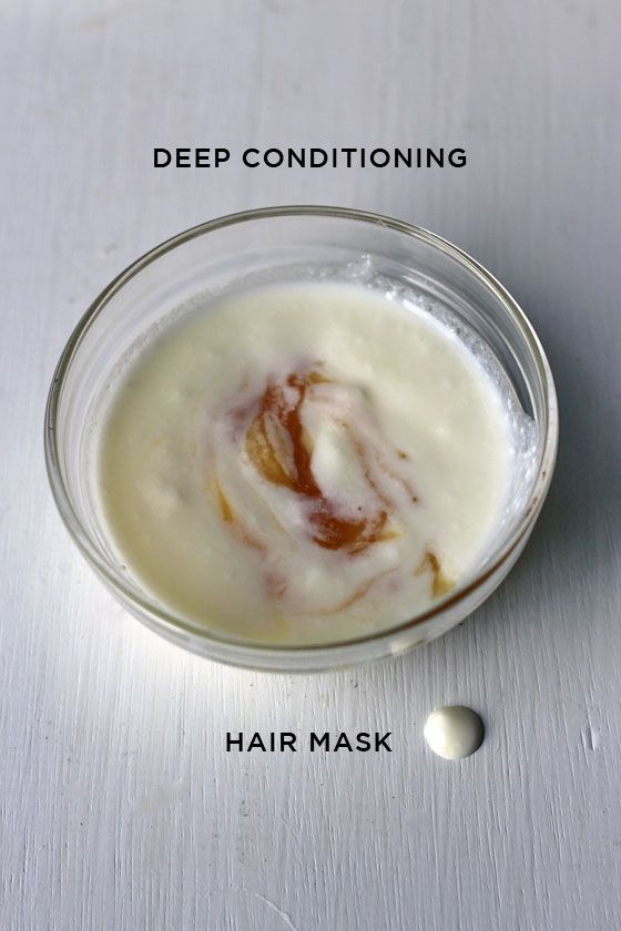 +++ DIY DEEP CONDITIONING HAIR MASK FOR DRY, FRIZZY HAIR  2  tablespoons natural yogurt 1  tablespoon honey 1/4 tsp coconut oil for thin hair, 1/2 tsp coconut oil for thicker hair (see how your hair soaks in the oil – mine can only take a drop!)  leave the mask on for 15 -20 minutes