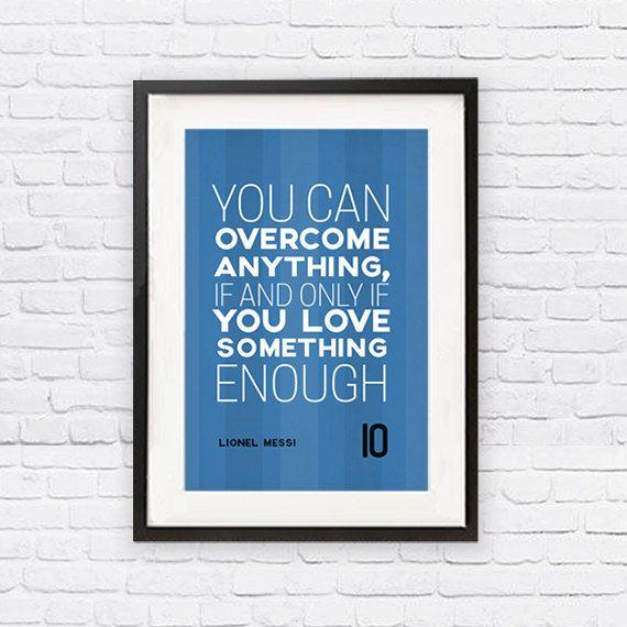 Lionel Messi #10 FC Barcelona Inspirational Love Quote Poster Print   Soccer Memorabilia   Wall Art for Soccer Fans