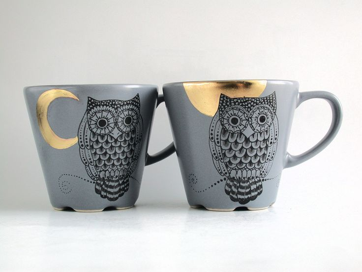 owl golden moon grey tea coffee cup and saucer hand painted via etsy products i. Black Bedroom Furniture Sets. Home Design Ideas