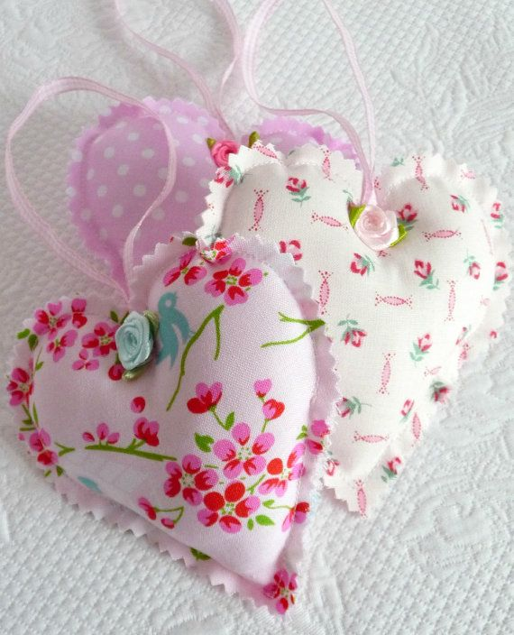 Shabby Chic Decorative Pink Polka Dot, Floral Hanging Hearts, Ornament, Satin Roses, Valentine, Trio