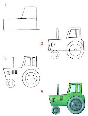 Tractors draw and how to draw on pinterest - Dessiner un tracteur ...