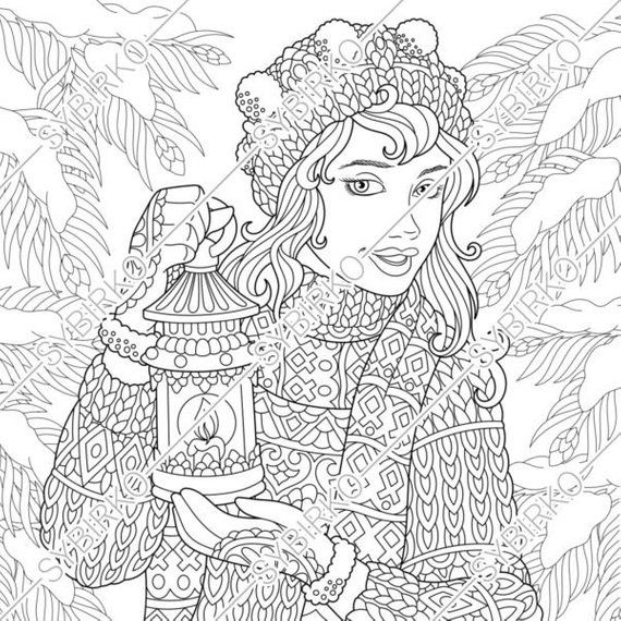 Coloring pages for adults. Winter Girl. Christmas coloring