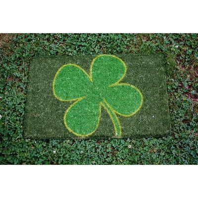 Entryways 4 Leaf Clover Handwoven Coconut Fiber Doormat - green door mat