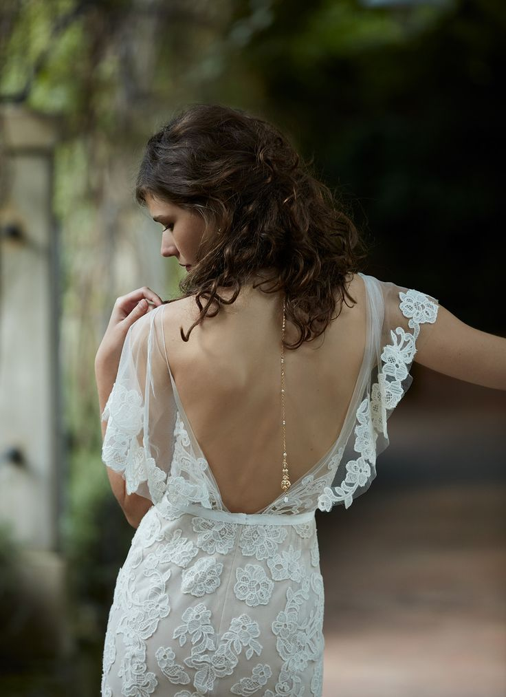 BHLDN lace wedding dress with flutter sleeves