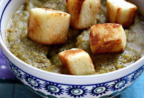 Vegan split pea soup with challah croutons, made in the slow cooker (crockpot).
