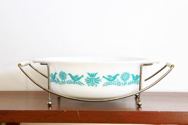 Vintage Pyrex dish - made in USA/Blue Birds Pyrex Casserole / Blue Bird Pyrex / Turquoise Bluebird Pyrex Casserole by VelvetPoppyVintage on Etsy
