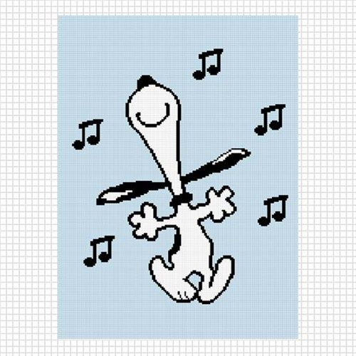SNOOPY DANCING MUSICAL NOTES No. 2 CROCHET AFGHAN PATTERN GRAPH
