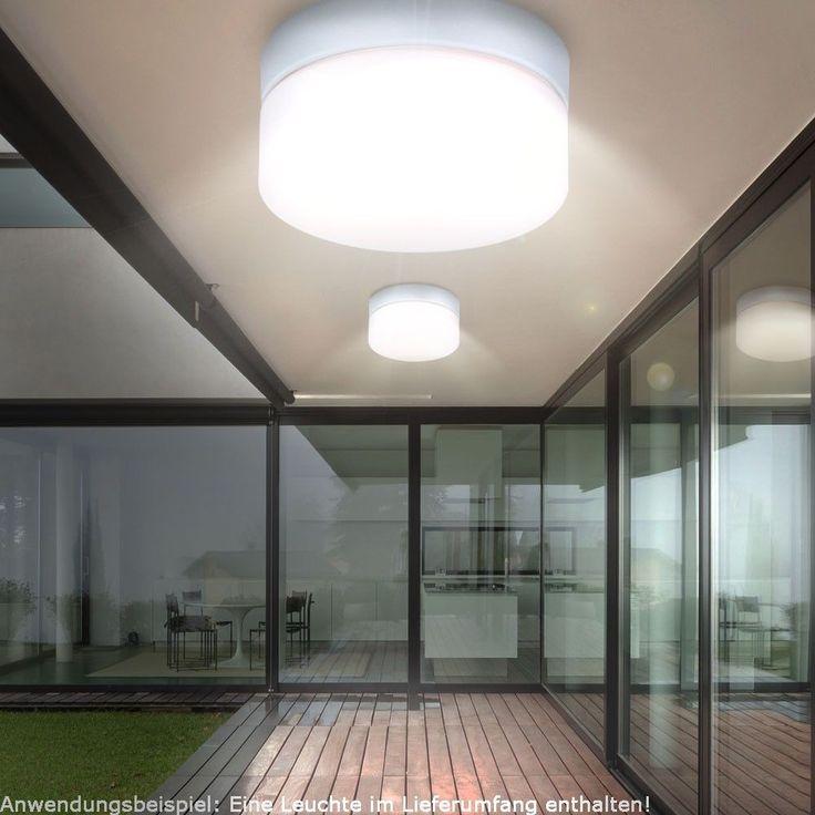 Design LED Außen Lampe Decken Energie Spar Leuchte IP44 rund Garten Hof Haus Tür