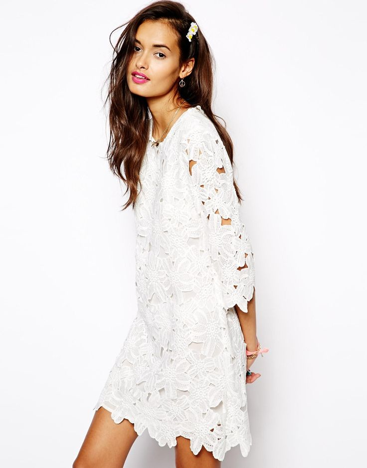 $109, White Lace Shift Dress: Native Rose Shift Dress In Lace Cutwork. Sold by Asos. Click for more info: https://lookastic.com/women/shop_items/108532/redirect