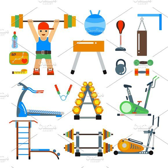 Fitness gym club vector icons Graphics Fitness gym club vector icons. Athlet and sport tools. Sportsman silhouette, bicycle track, damn lad by Vectorstockerland