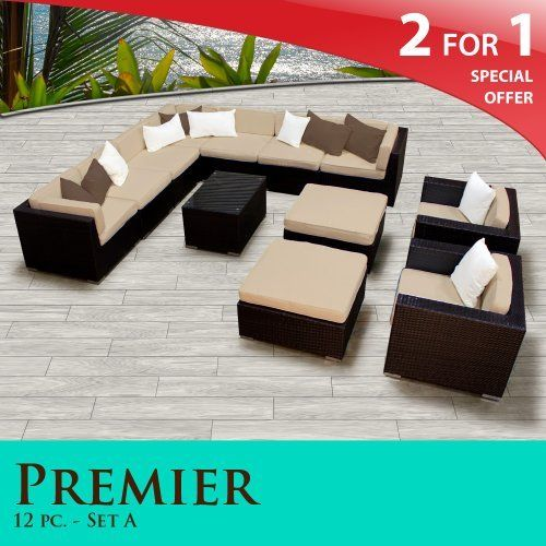 Premier Outdoor Wicker 12 Piece Patio Set Sand Covers  12A By TK Classics.  $2534.00