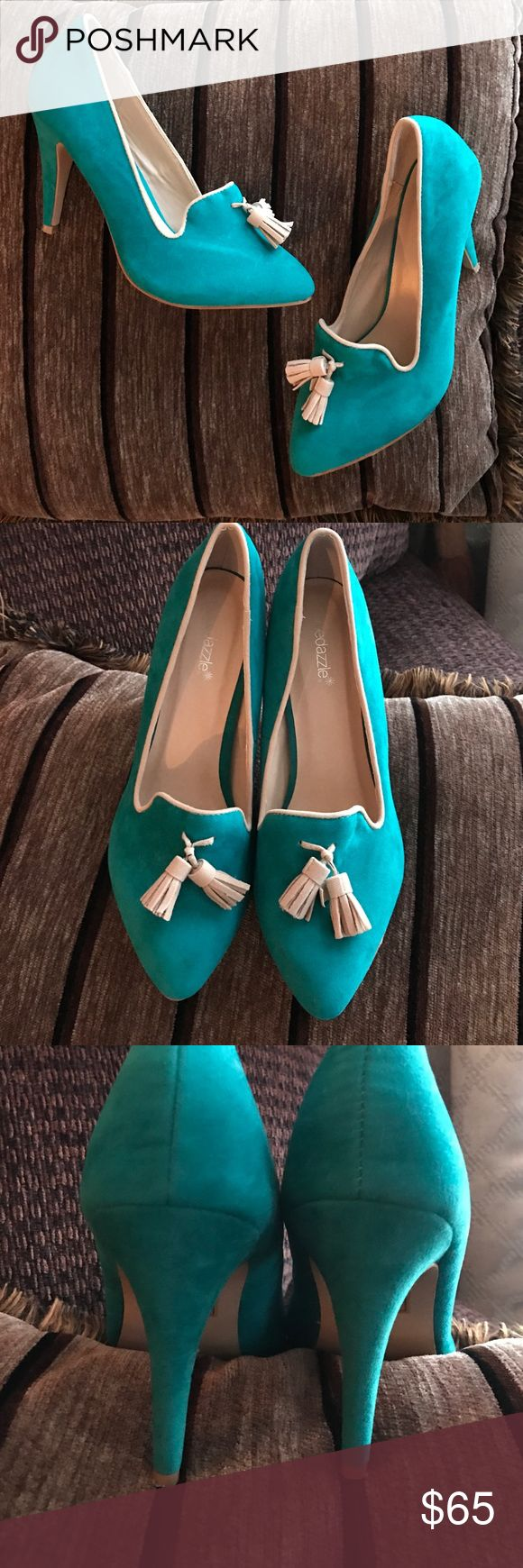 Turquoise boho Tassel Shoe Dazzle low vamp heel Worn once and practically new condition they show no wear  whatsoever on the shoe and only the slightest touch of wear on the sole. Stunning and gorgeous shoes no offers on these please price is firm Shoe Dazzle Shoes Heels