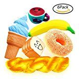 6 Pack Squishies Slow Rising Jumbo Bread Toast Donut Ice Cream Banana Cup Scented Soft Stress Reliever Squishy Food Fruit Kavaii Toys Realistic Decorations Christmas Gift Party Favors by Woqoo