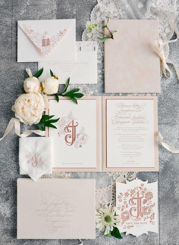 Beautiful elegant blush wedding invitation suite: http://www.stylemepretty.com/2016/12/20/best-invitations-of-2016/ Photography: Jose Villa - http://josevilla.com/