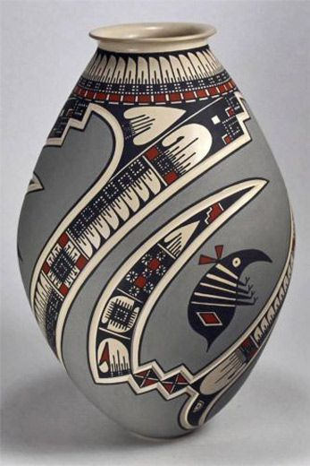 Mata Ortiz Pottery by c with native Indian decoration