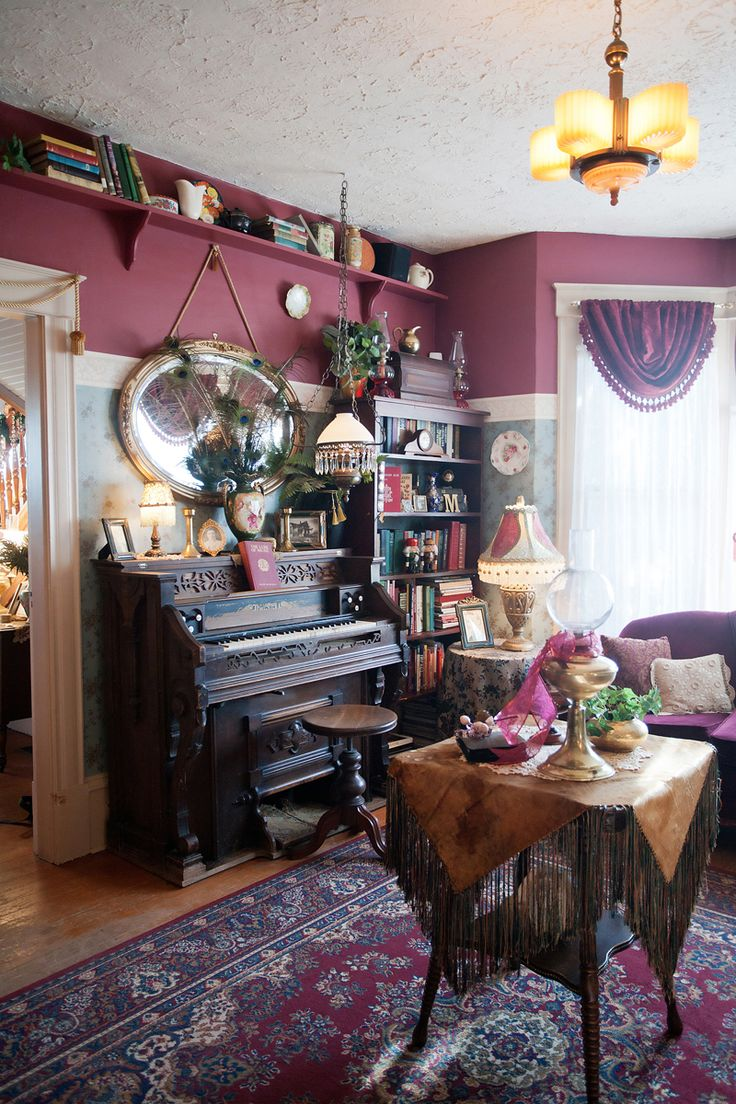 An old organ holds court near a corner in the living room.