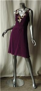 CAROLINA HERRERA Purple Silk JEWELED BEADED Dress 2 NEW