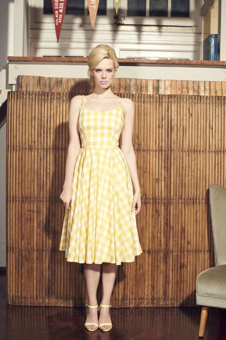 Yellow gingham midi dress for summer