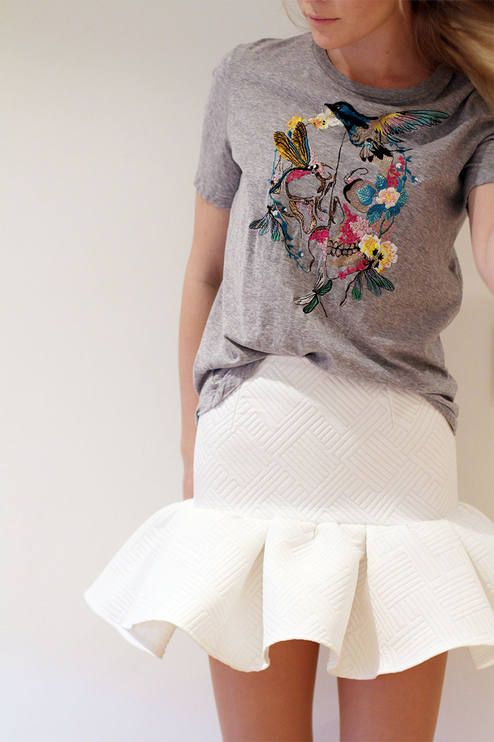 I love this graphic Tee with a cute white skirt