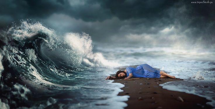 Morze, Fala, Brzeg, Leżąca, Kobieta