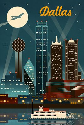 Dallas, Texas - Retro Skyline - Lantern Press Poster Must find a retailer!