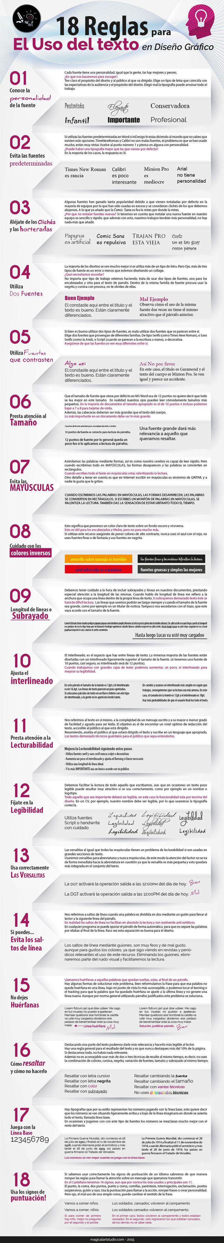 Hola: Una infografía con 18 reglas para el uso de Texto en Diseño Gráfico. Vía Un saludo
