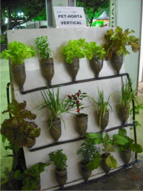 Envases pet convertidos en huerto para auxiliar en la for Antorchas para jardin caseras
