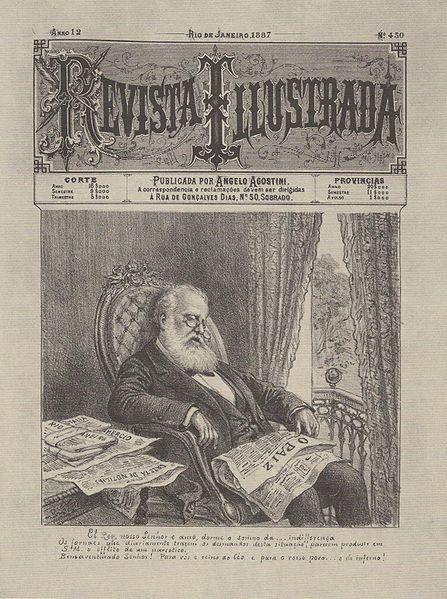 Caricatura do Imperador brasileiro Dom Pedro II.