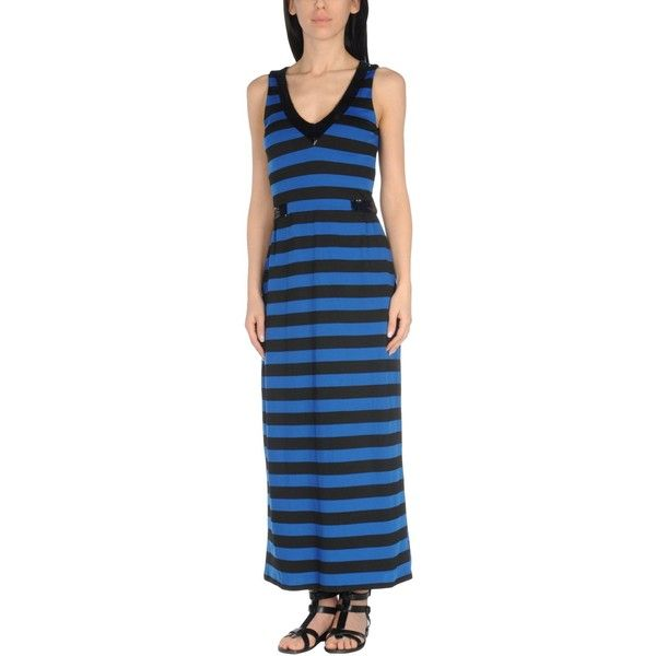 Les Copains Beachwear Beach Dress ($240) ❤ liked on Polyvore featuring dresses, blue, beach dresses, blue beach dress, les copains dress, striped dress and blue dress