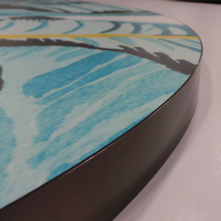 Fusion Art Bespoke Printed Laminate Table Top with Anodised Blacken Steel Edge Detail e: info@aprjoinery.com.au w:aprjoinery.com.au