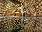 Veškeré knihy a police se zrcadlí i na podlaze.
