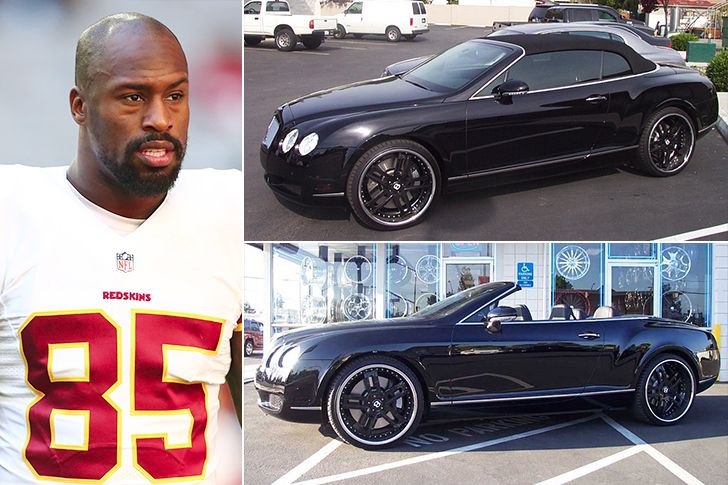 """Vernon Davis – Bentley Continental GT Convertible, Estimated $200K Washington Redskins tight end, Vernon Davis, is a self-proclaimed""""car guy"""" and his fleet includes a custom jet-black Ford F150 truck, Mercedes Benz S63, Porsche Panamera, a custom red Dodge Challenger SRT8, 2 white Escalades and a $200,000 Bentley Continental GT Convertible."""