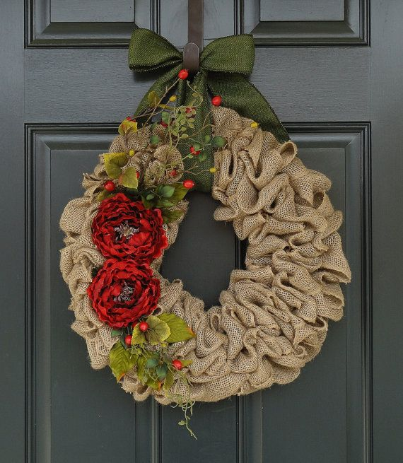 Holiday WreathChristmas Burlap WreathBurlap by WhimsyChicDesigns, $65.00
