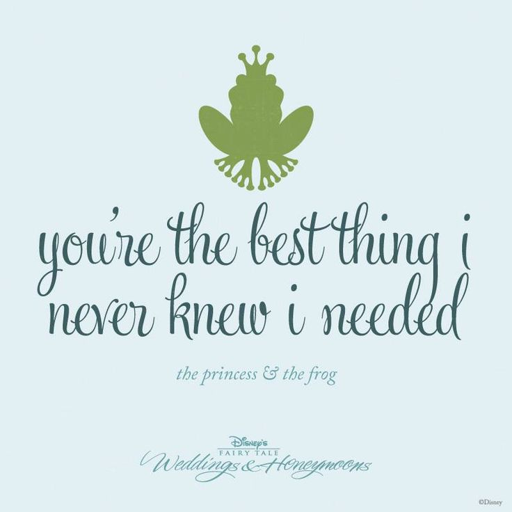 """""""You're the best thing I never knew I needed."""" - The Princess and the Frog"""