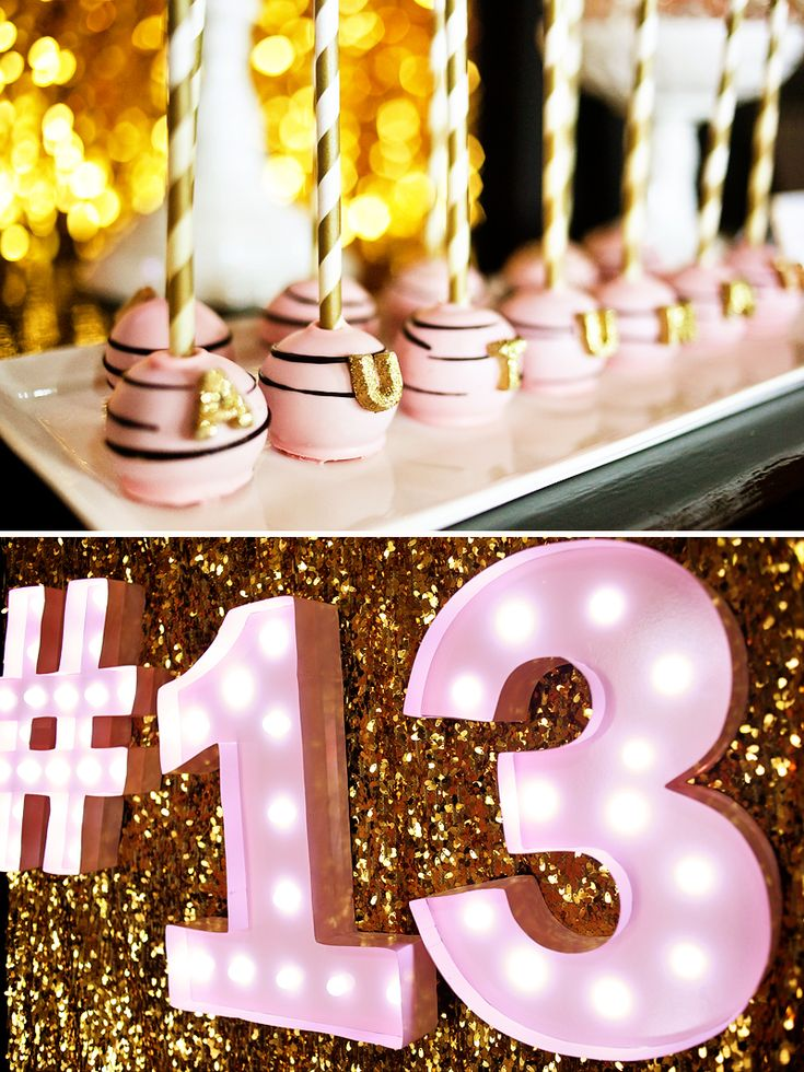 Fabulous Pink & Gold Glitter Teen Birthday. We love these pink, black, and gold cake pops.