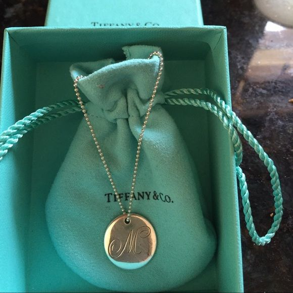 Tiffany letter M pendant and necklace Sterling silver Tiffany initial pendant and chain Tiffany & Co. Jewelry Necklaces