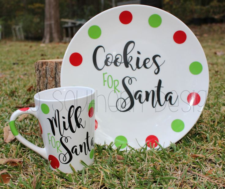 Christmas Cookie Plate - Cookies and Milk for Santa Set - Milk for Santa - Cookies for Santa Plate - Kids Christmas Gift by MoSouthernDesign on Etsy