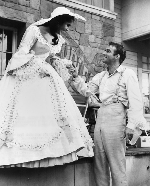 Montgomery Clift and Elizabeth Taylor on the set of Raintree County (1957)